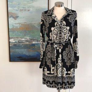 Hale Bob Shirt Dress Black / Gray / Cream - Size L